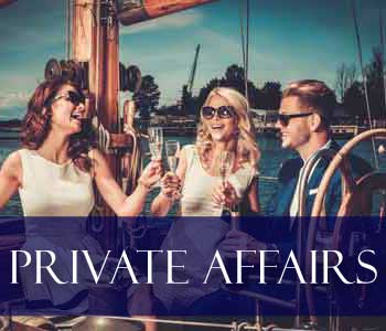 Private Affairs - Photo of three trendy people enjoy a party on a yacht.